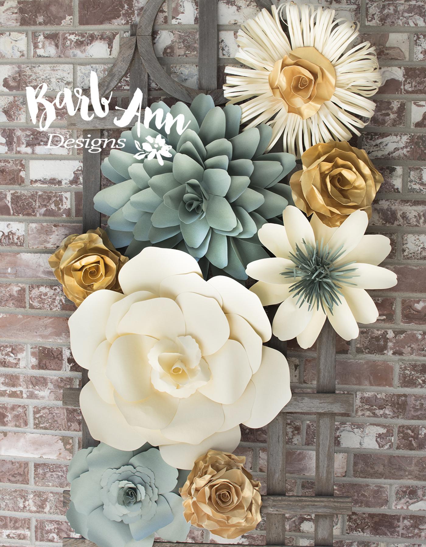 Eucalyptus Gold Cream Large Paper Flower Wall Backdrop Barb Ann Designs